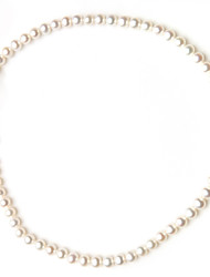 HANAZO AAA Grade 925 Sterling Sliver White Pearls Necklace