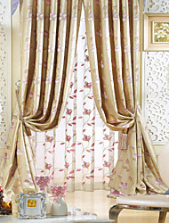 Two Panels  Michelle Luxury® Jacquard Floral Faux Silk Traditional Energy Saving Curtain