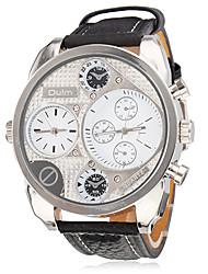 Men's Military Style 2 Time Zones PU Band Quartz Wrist Watch