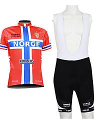 Kooplus 2013 Norge Pattern 100% Polyester Kurzarm Quick Dry Mens BIB Short Radfahren Anzüge
