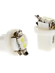 B8.5 0.5W 2x3528SMD White Light Lâmpada LED para lâmpada instrumento do carro (DC 12V, 1-Par)