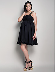 Short/Mini Chiffon Bridesmaid Dress - Black Maternity A-line / Princess Straps
