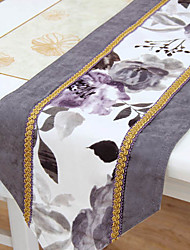 Ink Floral Pattern Poly / Cotton Table Runner