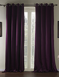(Two Panels) Traditional Solid Luxuriant Eco-friendly Curtain
