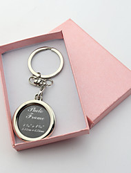 Personalized Engraved Gift Creative Round Photo Frame Keychains (Set of 6)