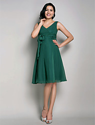 Homecoming Bridesmaid Dress Knee Length Chiffon A Line V Neck Maternity Dress