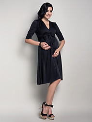 LAN TING BRIDE Knee-length V-neck Bridesmaid Dress - Little Black Dress Half Sleeve Jersey
