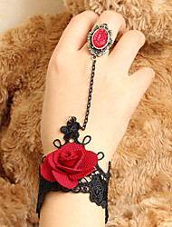 Handmade Blooming Rose Black Lace Gothic Lolita Ring Bracelet