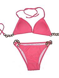 de metal halter swimwear das mulheres