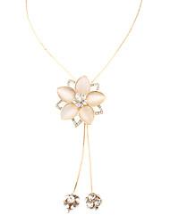 Cat's Eye Stone Flower Diamond Sphere Necklace