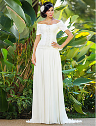 Sheath/Column Plus Sizes Wedding Dress - Ivory Sweep/Brush Train Off-the-shoulder Chiffon