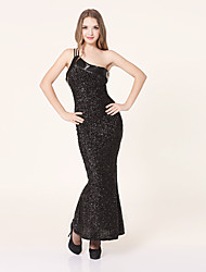 Sexy Lady Black Shining Polyester Night Gown