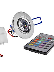 3W LED Ceiling Lights Recessed Retrofit 1 High Power LED 180 lm RGB Remote-Controlled AC 85-265 V