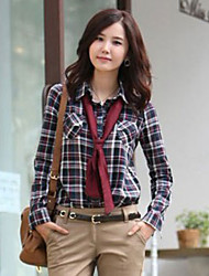 Women's Formal Simple / Street chic All Seasons Shirt,Plaid Long Sleeve Orange / Yellow / Purple Medium