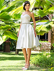Lanting Bride A-line / Princess Petite / Plus Sizes Wedding Dress-Knee-length Sweetheart Satin