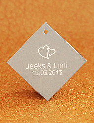 Personalized Rhombus Favor Tag - Heart (Set of 30)