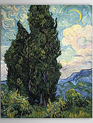 Famous Oil Painting Paintings_cypresses by Van Gogh