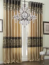 une paire œillet du haut traditionnel rideau rattache Jacquard doublée