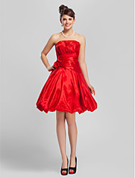 Lanting Bride® Knee-length Taffeta Bridesmaid Dress - A-line / Princess Strapless Plus Size / Petite withDraping / Flower(s) / Criss