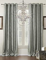 Two Panels Grommet Top  Curve Jacquard Classic Energy Saving Curtains Drapes