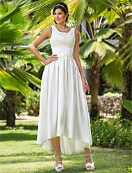 Lanting Bride A-line / Princess Petite / Plus Sizes Wedding Dress-Asymmetrical Scoop Satin