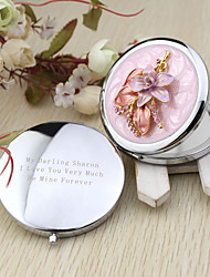 Personalized Nice Flower Chrome Compact Mirror Favor