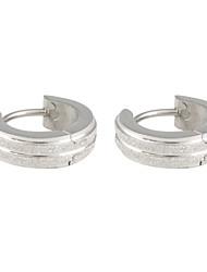 Double rangée givré acier inoxydable Earring