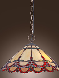 Tiffany Pendant Light with 2 Lights in Warm Light Red Edge