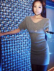 Yizhiyan Vestido de punto elegante simple