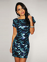 Women's Geometric Blue Dress , Sexy Bateau Short Sleeve Sequins