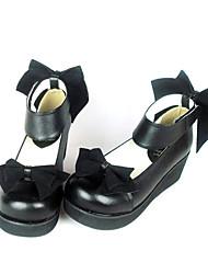 Negro PU cuero cuña de 4,5 cm Velvet Bow Classic Lolita Shoes