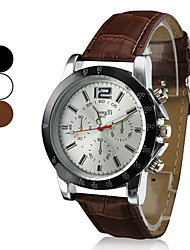 Men's Business Style PU Leather Band Quartz Wrist Watch (Assorted Colors)