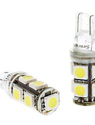 Ampoule pour Instrument / Side feux de position voitures (DC 24V, 1 paire) T10 1.5W 9x5050SMD LED à lumière blanche
