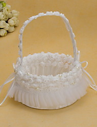 Pretty Wedding Flower Basket With White Organza Rose