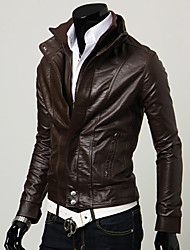 Men's Stand Collar Two Piece Like PU Leather Coat
