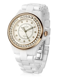 Charming Ceramic Round Crystal Quartz Movement Women's Watch