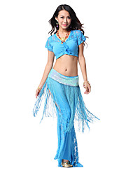 Dancewear Crystal Cotton with Cryatal and Tassels Belly Dance Outfits Top and Bottom For Ladies
