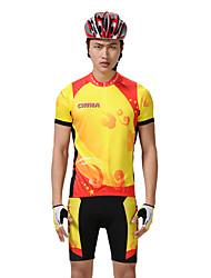 MYSENLAN PN сетка + Flex Материал с коротким рукавом быстросохнущие Костюмы Велоспорт (желтый, красный)