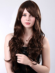 Capless Long High Quality Synthetic Brown Curly Side Bang Wings