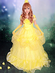 Gorgeous Sleeveless Floor-length Yellow Satin Organza Princess Lolita Dress