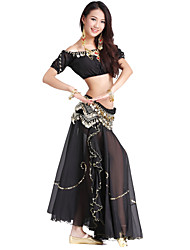 Dancewear Chiffon and Velvet Belly Dance Outfit For Ladies More Colors