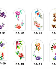 12PCS 3D Full-cover Nail Art Stickers Flower Series(NO.1,Assorted Color)