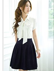 Women's Tie Front Two Piece Like Pleated Dress