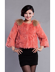 3/4 Sleeve Collarless Rabbit Fur Casual/Party Jacket(More Colors)