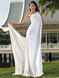 Lanting Bride® Sheath / Column Petite / Plus Sizes Wedding Dress - Chic & Modern / Elegant & Luxurious Floor-length One Shoulder Chiffon
