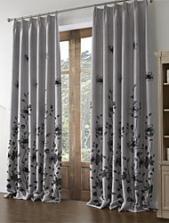 (Two Panels) Country Flocking Floral Energy Saving Curtain