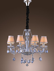 Elegant Retro Chandelier 8 Lights Candle Feature Water Blue Crystal Fabric Shades