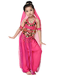Dancewear Chiffon with Coins Belly Dance Outfits Top and Bottom and Scarfs For Children More Colors