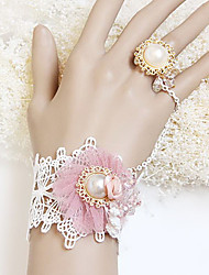 Handmade Pink Organza Flower Sweet Princess Lolita Ring Bracelet