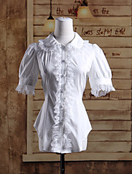Blouse/Shirt Sweet Lolita Lolita Cosplay Lolita Dress Solid Short Sleeve Lolita Blouse For Cotton